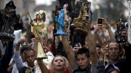 Santa Muerte devotees in the Mexico City neighborhood of Tepito