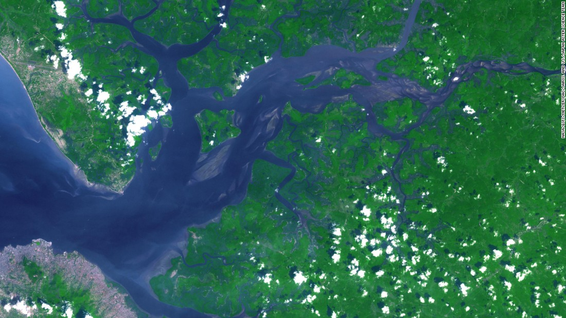The Sierra Leone river, captured in 2014 by the NASA Terra spacecraft.