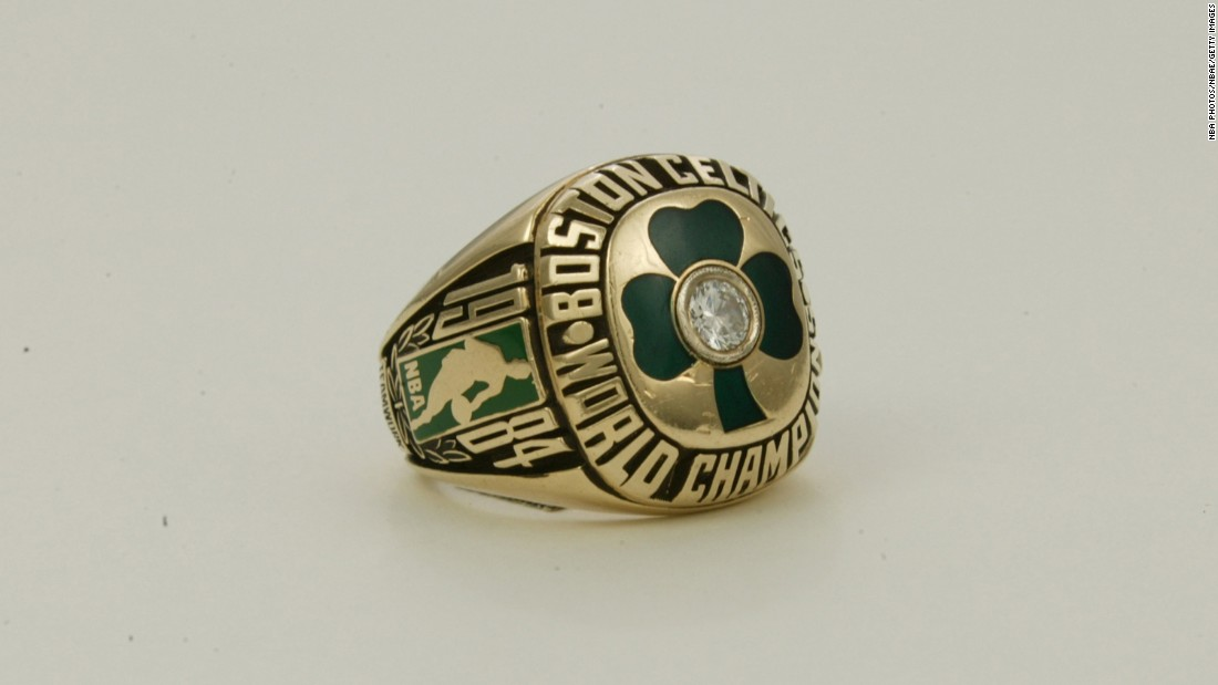 If you were a member of the NBA champion Boston Celtics during the 1983-84 season, this diamond cloverleaf ring might look familiar. Here's a look at some other NBA title rings from the past 40 years.