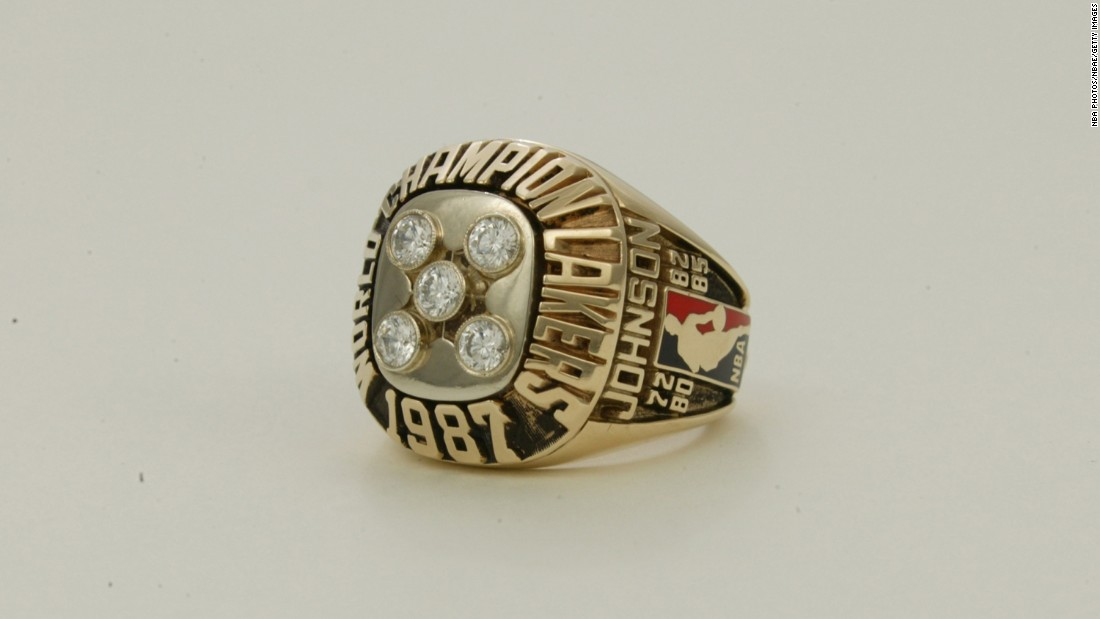 In 1987, the Lakers marked their fifth Los Angeles title with five diamonds on the front of the ring. Note the name Johnson on the side -- this was the ring for Lakers star Magic Johnson.