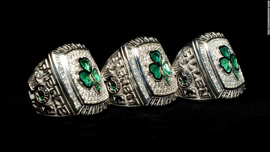 "Boston Celtics fans might like these championship baubles that were made in 2008 for the team's ""Big 3"": Paul Pierce, Kevin Garnett and Ray Allen."