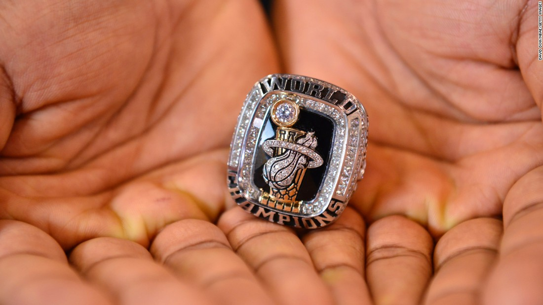 Norris Cole shows off the championship ring he won with the Miami Heat in 2014.