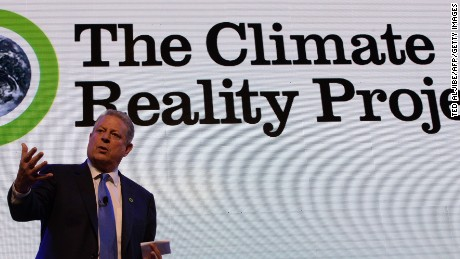 Former US vice-president Al Gore speaks at a climate change forum in Manila on March 14, 2016.  Gore, climate change activist and Nobel Peace Prize winner, who made a surprise visit March 12 to Tacloban city ravaged by one of the strongest storms on record, is here to attend a climate change forum in the Philippine capital from March 14 to 16. / AFP / TED ALJIBE        (Photo credit should read TED ALJIBE/AFP/Getty Images)