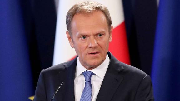 Donald Tusk, President of the European Council, speaks in Valletta, Malta.