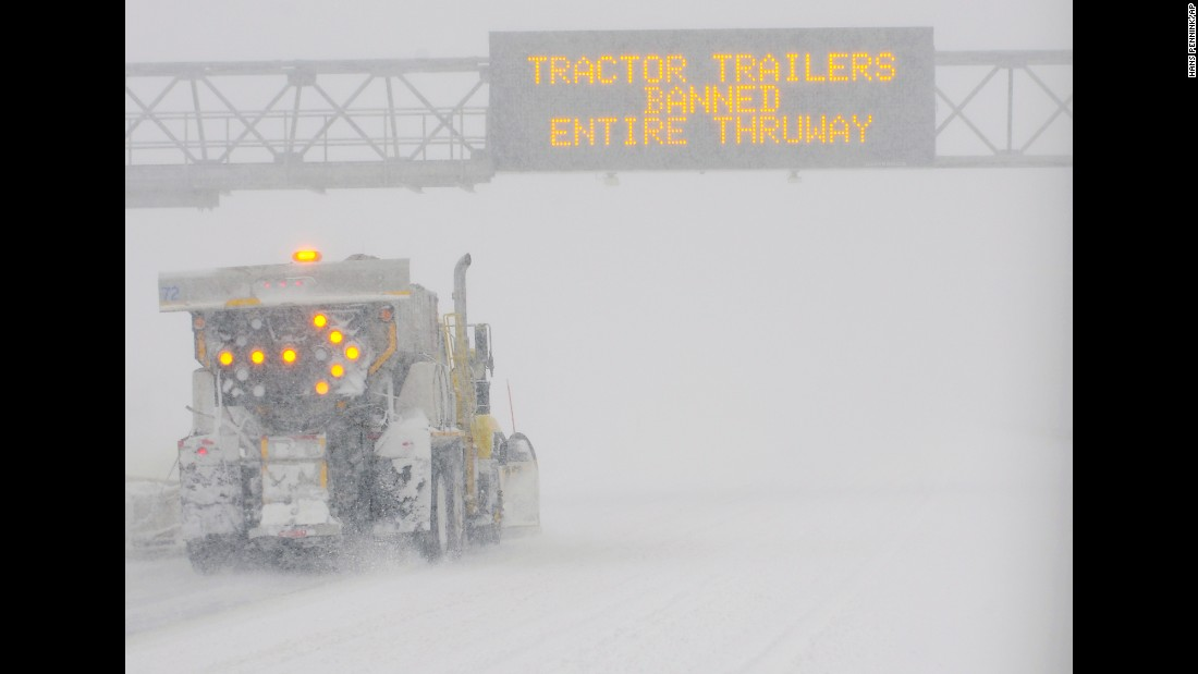 "A snowplow clears a section of the Interstate 90 Thruway near Albany, New York, on Tuesday, March 14. <a href=""http://www.cnn.com/2017/03/14/weather/gallery/northeast-winter-weather-0314/index.html"" target=""_blank"">See more photos of the late-winter nor'easter</a>"