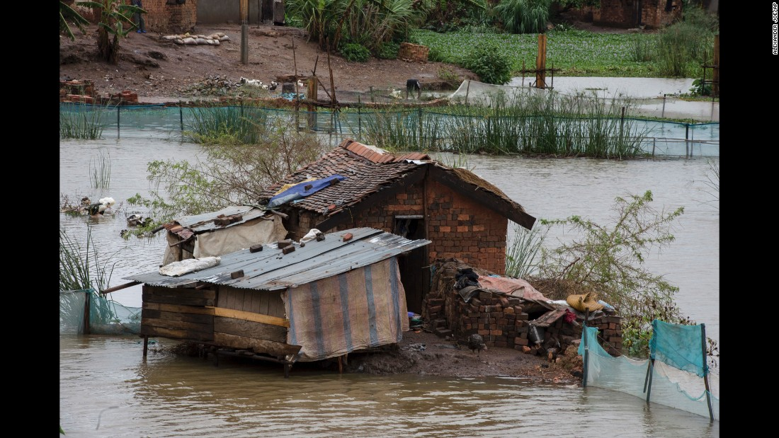 Floodwaters are seen in Madagascar's capital, Antananarivo, on Thursday, March 9. Officials said thousands had left their homes because of damage caused by Cyclone Enawo.