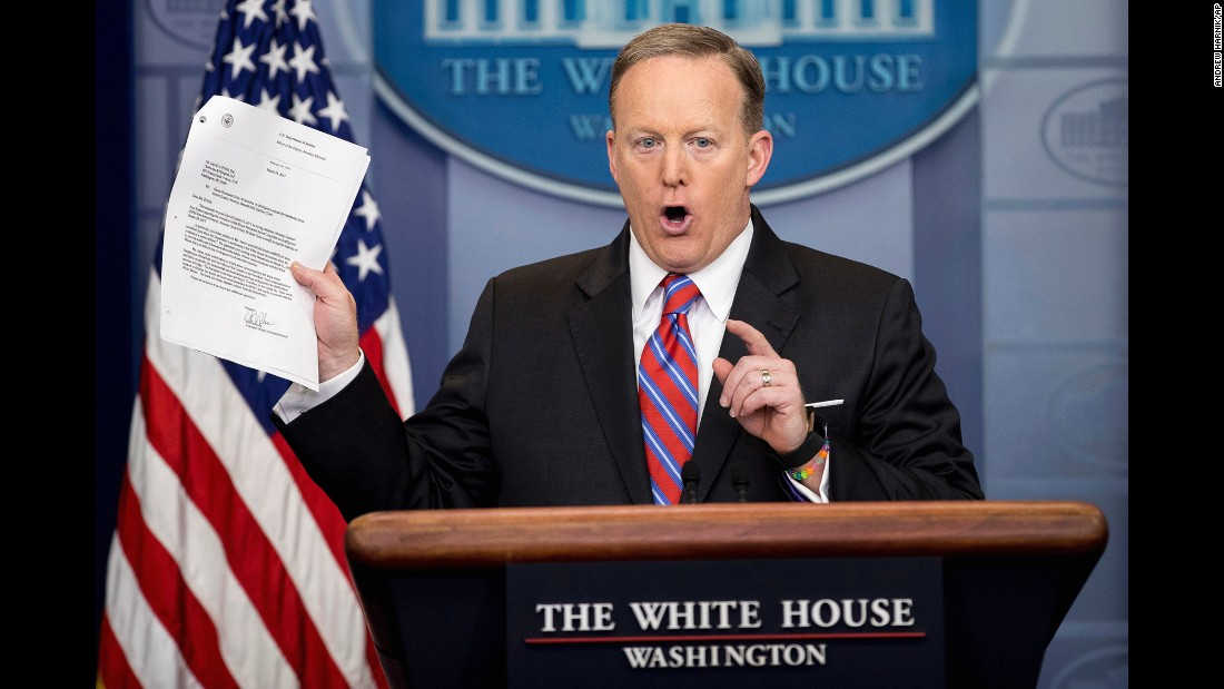 "White House press secretary Sean Spicer holds up a document during his daily news briefing in Washington on Tuesday, March 28. <a href=""http://www.cnn.com/2017/03/28/politics/sally-yates-house-intelligence-hearing-white-house/"" target=""_blank"">Spicer said</a> the White House does not seek to prevent Sally Yates, the former acting attorney general, from testifying in the House Intelligence Committee's investigation of Russian meddling. The statement came after <a href=""https://www.washingtonpost.com/world/national-security/trump-administration-sought-to-block-sally-yates-from-testifying-to-congress-on-russia/2017/03/28/82b73e18-13b4-11e7-9e4f-09aa75d3ec57_story.html"" target=""_blank"">a Washington Post report,</a> which cited a Justice Department letter to Yates' attorney that said Yates' communications with the White House counsel ""are likely covered by the presidential communications privilege."" Spicer said the White House does not believe executive privilege should be an issue in Yates testifying."
