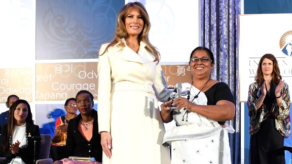 First lady Melania Trump poses with Sandya Eknelygoda on Wednesday, March 29, after Eknelygoda received an award at the Secretary of State's International Women of Courage Awards. The awards honor women across the globe who have overcome injustice and gone on to transform their societies, often in the face of personal danger. Eknelygoda is a human rights activist in Sri Lanka.