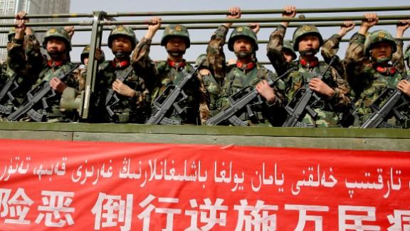An anti-terrorist oath-taking rally in Xinjiang in February.