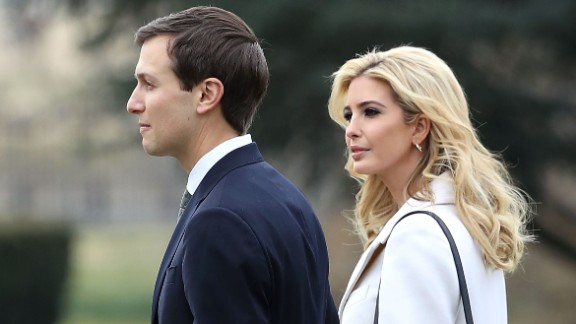 Ivanka Trump walks with her husband, White House Senior Adviser Jared Kushner, toward Marine One while departing with her father President Donald Trump on February 17, 2017 in Washington, DC.
