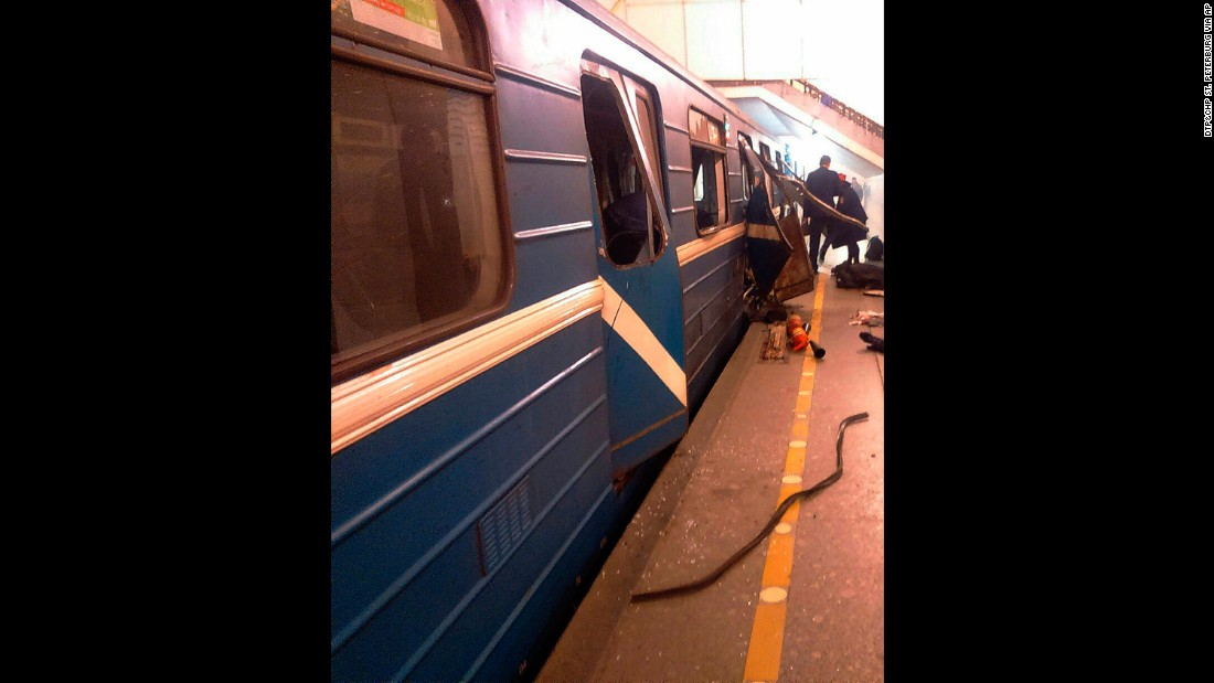 The damaged train car is seen at the Tekhnologichesky Institut station in St. Petersburg. Dozens were reported injured in the blast.