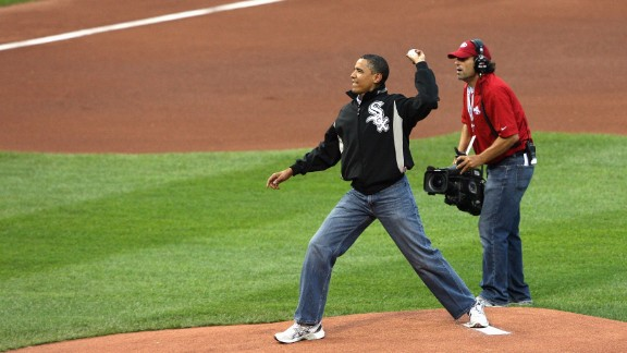 President Barack Obama throws out the first pitch at the 2009 MLB All-Star Game at Busch Stadium on July 14, 2009, in St. Louis.