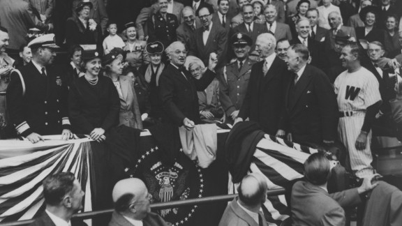 President Harry S. Truman throws the first baseball pitch at Griffith Stadium in Washington on April 18, 1950.