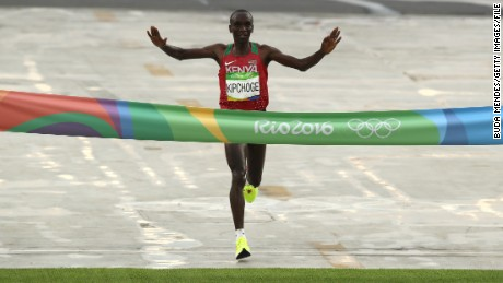 Eliud Kipchoge wins the gold at last year's Rio Olympic Games.