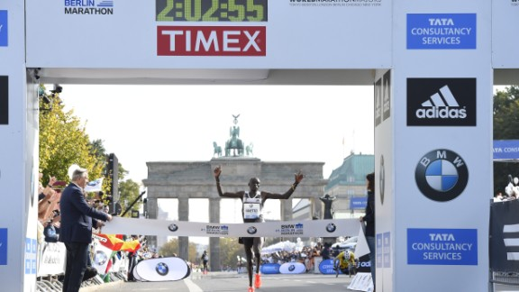 Kenya's Dennis Kimetto sets the current marathon world record at Berlin in 2014.