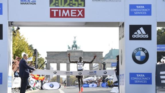Kenya's Dennis Kimetto sets the current marathon world record at Berlin in 2014.