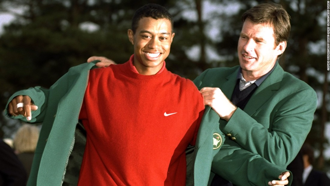 On his third appearance at Augusta in 1997, Woods won by a record margin of 12 shots to become the youngest Masters champion at 21.