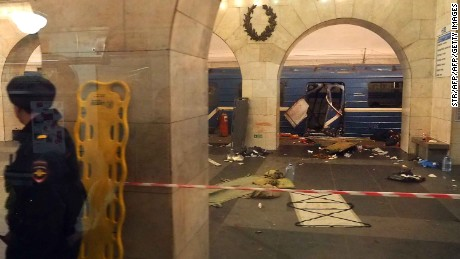 Fourteen people were killed and dozens injured at the Technological Institute metro station in St Petersburg on Monday.