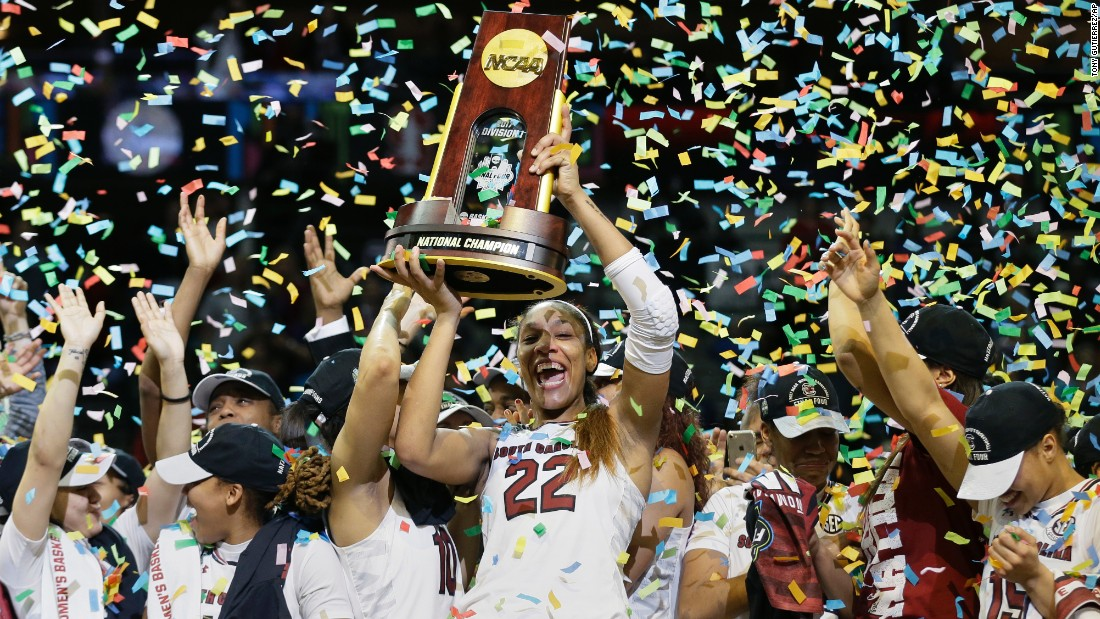 A'ja Wilson lifts the trophy after South Carolina's basketball team won the national title on Sunday, April 2. Wilson scored 23 points against Mississippi State and was named the tournament's Most Outstanding Player.