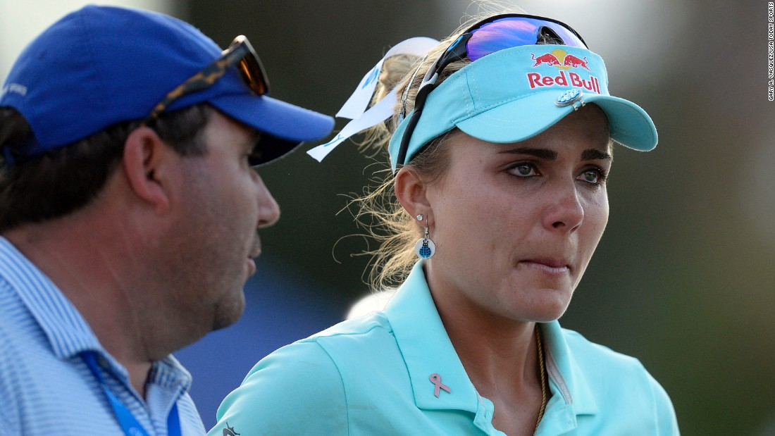 "Golfer Lexi Thompson reacts after her playoff loss at the ANA Inspiration on Sunday, April 2. Thompson was visibly shaken after receiving <a href=""http://www.cnn.com/2017/04/03/golf/tv-viewer-influences-ana-inspiration-lexi-thompson-so-yeon-ryu-four-stroke-penalty/"" target=""_blank"">a controversial four-stroke penalty</a> on the 13th hole of the final round. The penalty was assessed for an incorrect ball mark that a television viewer reported from the third round. Thompson was leading by two strokes when she was informed of the penalty. She rallied to force a playoff but came up short to So Yeon Ryu."