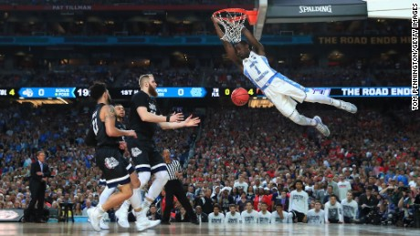 GLENDALE, AZ - APRIL 03: Theo Pinson #1 of the North Carolina Tar Heels dunks in the first half against Przemek Karnowski #24 of the Gonzaga Bulldogs during the 2017 NCAA Men's Final Four National Championship game at University of Phoenix Stadium on April 3, 2017 in Glendale, Arizona.  (Photo by Tom Pennington/Getty Images)