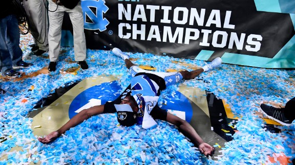 Pinson makes a confetti angel during the celebrations.