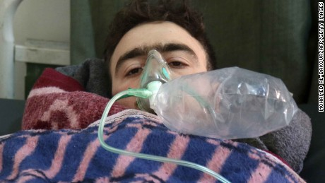 A Syrian man receives treatment following a suspected toxic gas attack in Khan Sheikhun, a rebel-held town in the northwestern Syrian Idlib province, on April 4, 2017.