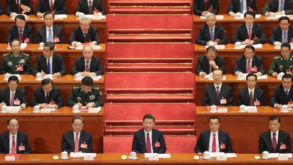 President Xi Jinping (center) attends the 12th National People