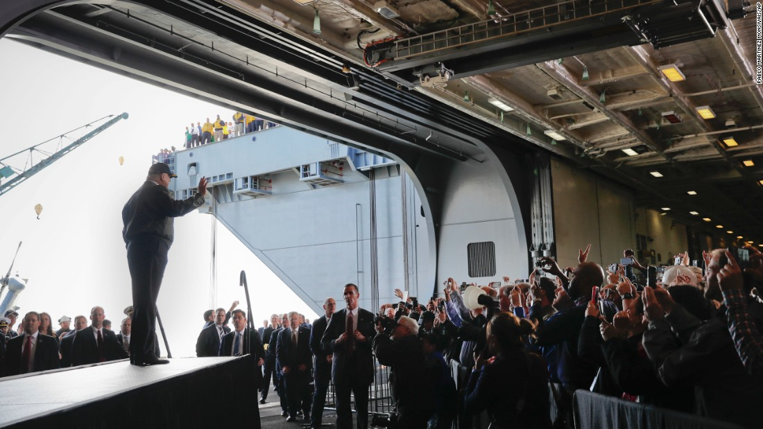 "US President Donald Trump waves to Navy sailors and civilian shipbuilders aboard the USS Gerald R. Ford on Thursday, March 2. The ship is still under construction in Newport News, Virginia. During his speech, Trump said his planned <a href=""http://www.cnn.com/2017/03/02/politics/donald-trump-aircraft-carrier-defense-funding/"" target=""_blank"">$84 billion increase</a> in the defense budget would be ""one of the largest spending increases in US history"" and would result in a ""major expansion of our entire Navy fleet."""