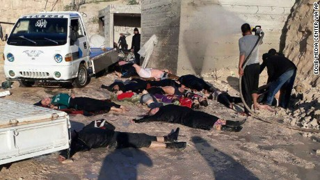 Victims of a suspected chemical attack are seen in Khan Sheikhoun on Tuesday, April 4.