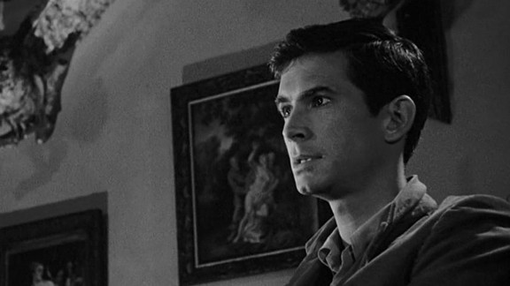 """Anthony Perkins plays Norman Bates, a knife-wielding serial killer, in Alfred Hitchcock's """"Psycho."""""""