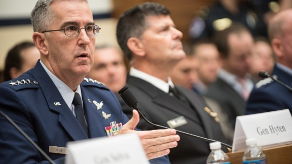 US Air Force Gen. John E. Hyten, commander of US Strategic Command, testifies during a House Armed Services Committee hearing on Capitol Hill, March 7, 2017