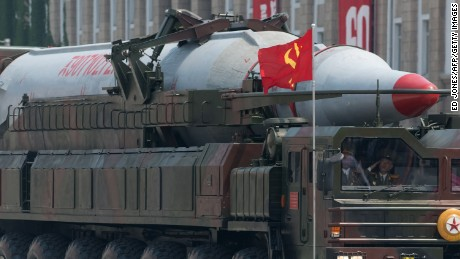 A North Korean Taepodong-class missile is displayed during a military parade past Kim Il-Sung square marking the 60th anniversary of the Korean war armistice in Pyongyang on July 27, 2013.  North Korea mounted its largest ever military parade on July 27 to mark the 60th anniversary of the armistice that ended fighting in the Korean War, displaying its long-range missiles at a ceremony presided over by leader Kim Jong-Un.  AFP PHOTO / Ed Jones        (Photo credit should read Ed Jones/AFP/Getty Images)