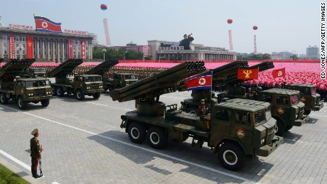 North Korean rocket launchers pass through Kim Il-Sung square during a military parade marking the 60th anniversary of the Korean war armistice in Pyongyang on July 27, 2013. North Korea mounted its largest ever military parade on July 27 to mark the 60th anniversary of the armistice that ended fighting in the Korean War, displaying its long-range missiles at a ceremony presided over by leader Kim Jong-Un.  AFP PHOTO / Ed Jones        (Photo credit should read Ed Jones/AFP/Getty Images)