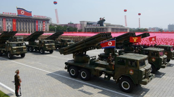 North Korean rocket launchers pass through Kim Il Sung square during a July 2013 military parade.