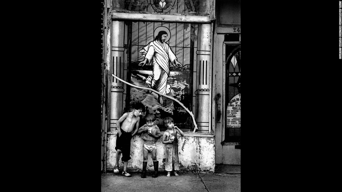 Children eat outside a Coney Island church in 1950.