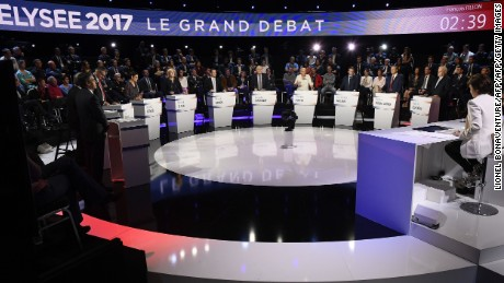 Candidates in the French presidential election take part in a televised debate on April 4, 2017.