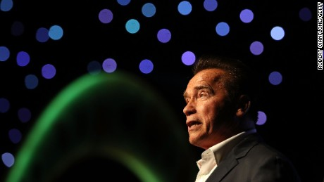 Arnold Schwarzenegger speaks at The Melbourne Convention and Exhibition Centre on March 17, 2017, in Melbourne, Australia.