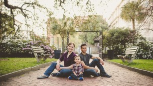 This divorced couple still takes a family portrait with their son