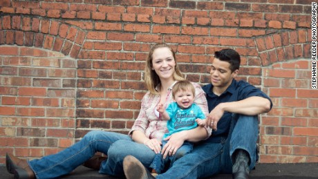 Victoria Baldwin and Adam Dyson, with son Bruce. (Stephanie Reeder Photography)