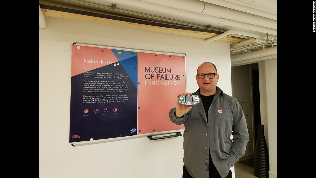 Samuel West, the brains behind the Museum of Failure, with the Nokia N-Gage, a hybrid mobile phone game system launched in 2003 and considered an innovation failure.