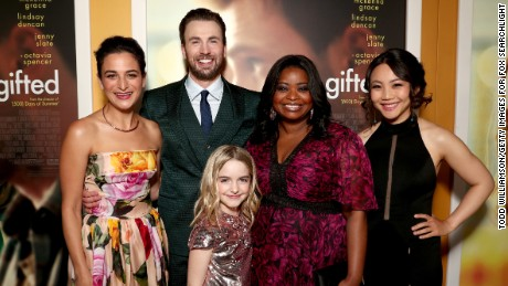 "LOS ANGELES, CA - APRIL 04:  (L-R) Actors Jenny Slate, Chris Evans, Mckenna Grace, Octavia Spencer, and Jona Xiao attend the Los Angeles Premiere of ""GIFTED"" at Pacific Theatres at The Grove on April 4, 2017 in Los Angeles, California.  (Photo by Todd Williamson/Getty Images for Fox Searchlight) *** Local Caption *** Jenny Slate;Chris Evans;Mckenna Grace;Octavia Spencer;Jona Xiao"