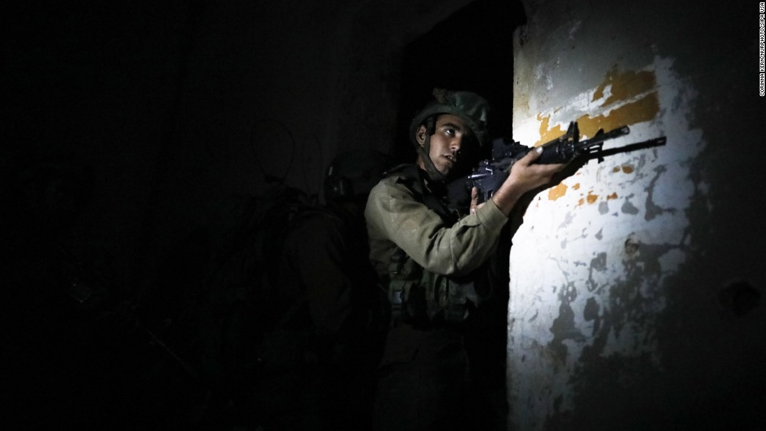 An Israeli soldier takes part in an urban-warfare drill at an abandoned building in the Jordan Valley on Wednesday, April 5.