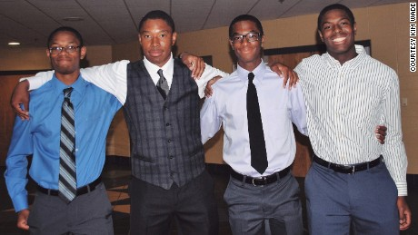 The Wade quadruplets, from left: Nigel, Zachary, Aaron, and Nick.