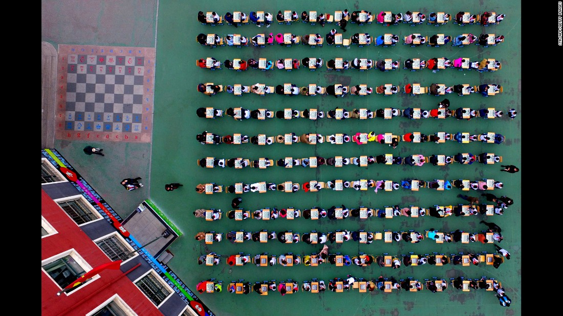 A chess contest is held at a primary school in Shenyang, China, on Thursday, April 6.
