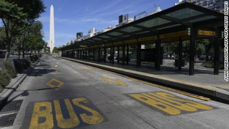 View of empty bus lanes on 9 de Julio avenue during a 24-hour general strike in Argentina called by workers' unions against economic policies of President Mauricio Macri, in Buenos Aires on April 6, 2017. Airlines grounded international flights and police scuffled with protesters as workers staged a general strike which also shut down public transport as Macri prepared to host an economic forum scheduled the same day. / AFP PHOTO / JUAN MABROMATA        (Photo credit should read JUAN MABROMATA/AFP/Getty Images)
