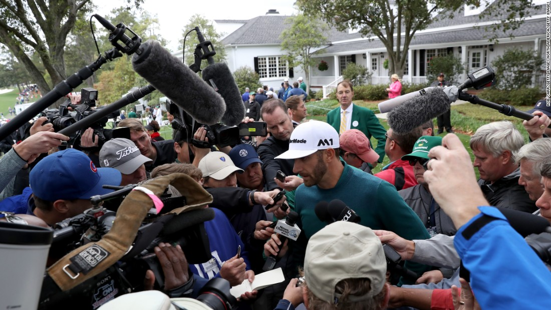 "Dustin Johnson, the world's No. 1 player, talks to the media after withdrawing from the tournament on Thursday. Johnson <a href=""http://edition.cnn.com/2017/04/05/golf/dustin-johnson-injures-back-ahead-of-masters/index.html"" target=""_blank"">hurt his back Wednesday</a> after falling down a staircase."