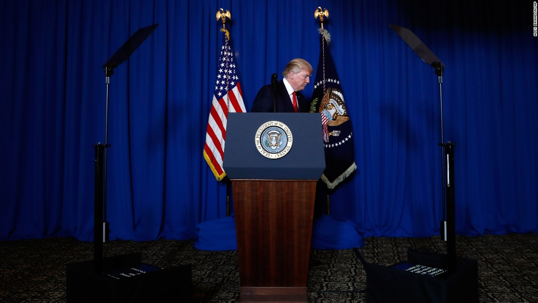 President Trump leaves the podium after speaking at his Mar-a-Lago resort in Florida on Thursday, April 6. He had just announced the military strikes against Syria.