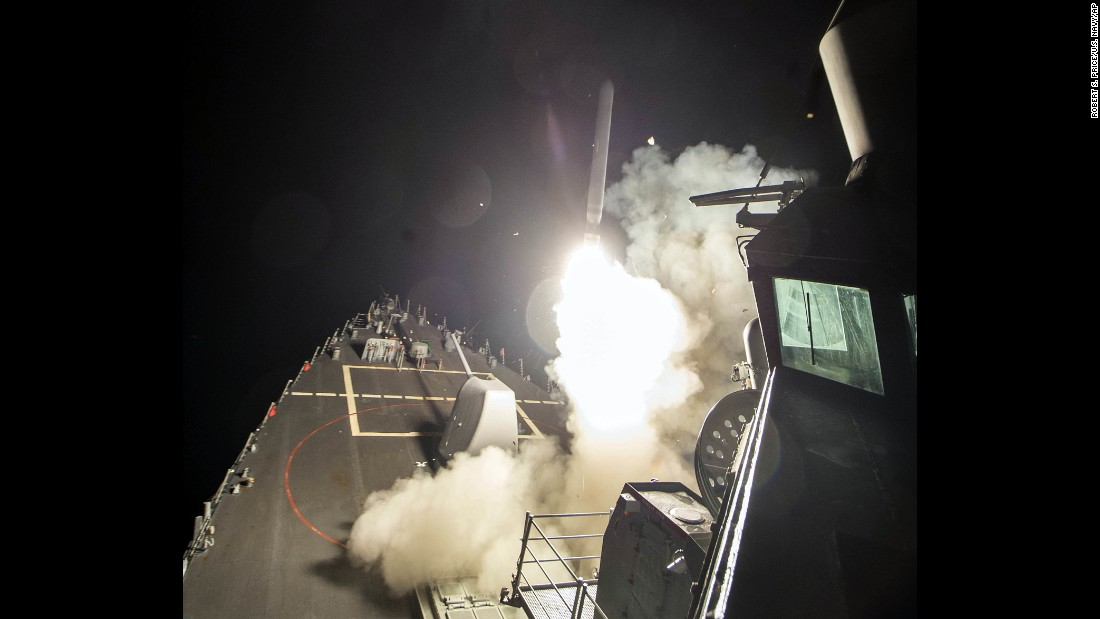 The USS Ross fires a missile from the Mediterranean Sea. All of these warship photos were provided by the US Navy.