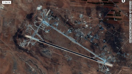 A satellite photograph shows the target of the US airstrike -- Al Shayrat airfield in Syria.